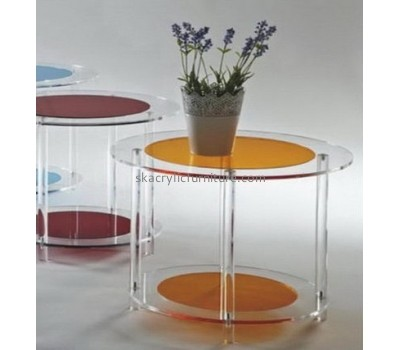 Customized acrylic luxury office furniture clear acrylic round dining table marble side table AT-045