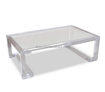 Customize lucite modern coffee table with storage AT-416