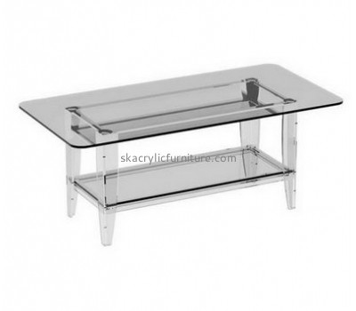 Customize clear coffee table with storage AT-462