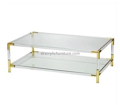 Customize plexiglass modern coffee table with shelf AT-536