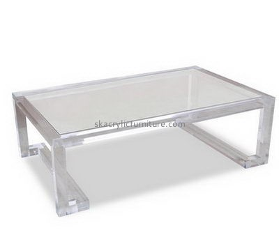 Lucite modern coffee table with shelf AT-674